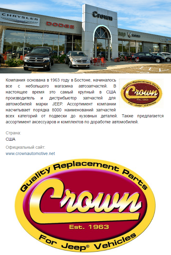 Crown - запчасти